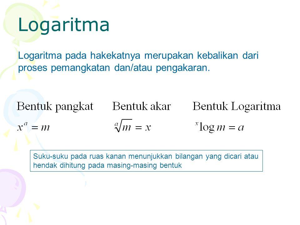 Logaritma Logaritma pada hakekatnya merupakan kebalikan dari proses pemangkatan dan/atau pengakaran. Suku-suku pada ruas kanan menunjukkan bilangan ya