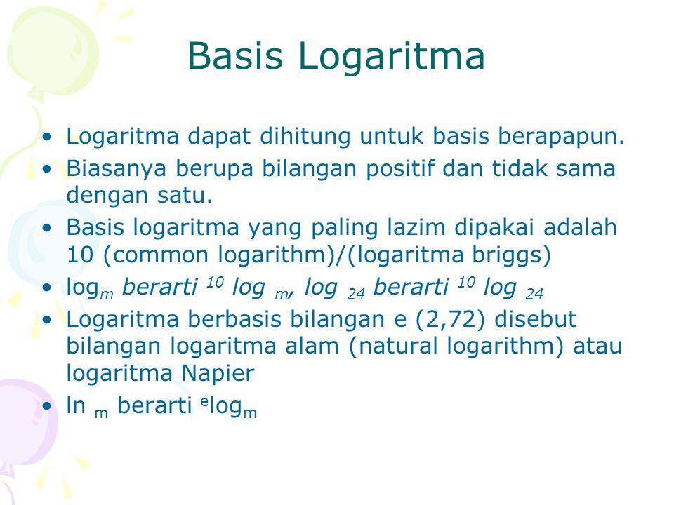Basis Logaritma Logaritma dapat dihitung untuk basis berapapun. Biasanya berupa bilangan positif dan tidak sama dengan satu. Basis logaritma yang pali