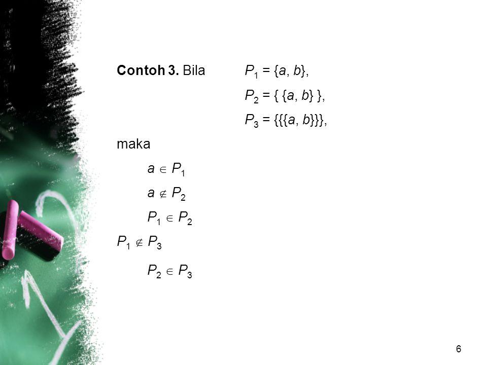 6 Contoh 3. Bila P 1 = {a, b}, P 2 = { {a, b} }, P 3 = {{{a, b}}}, maka a  P 1 a  P 2 P 1  P 2 P 1  P 3 P 2  P 3