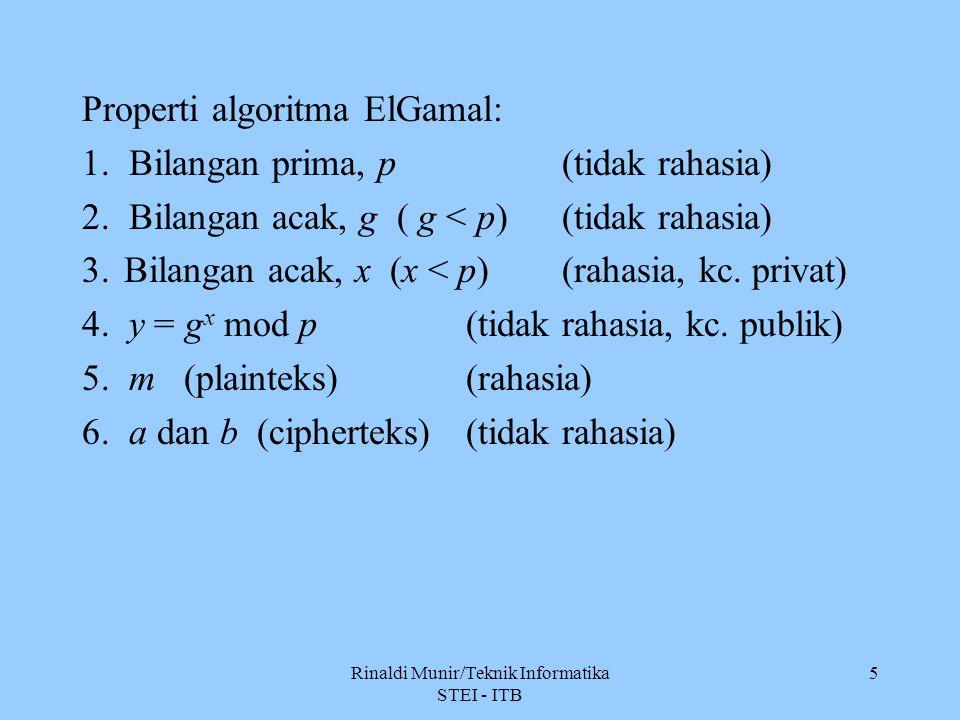 5 Properti algoritma ElGamal: 1. Bilangan prima, p(tidak rahasia) 2. Bilangan acak, g ( g < p) (tidak rahasia) 3.Bilangan acak, x (x < p)(rahasia, kc.