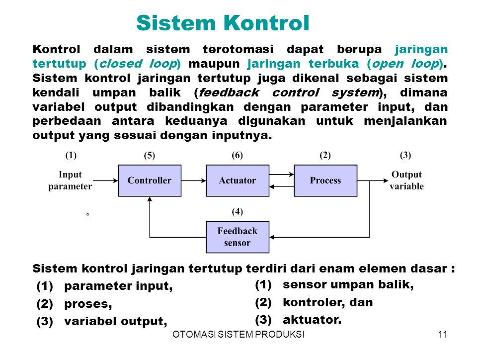 OTOMASI SISTEM PRODUKSI11 Sistem Kontrol Kontrol dalam sistem terotomasi dapat berupa jaringan tertutup (closed loop) maupun jaringan terbuka (open lo