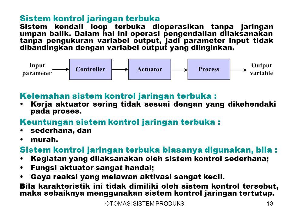 OTOMASI SISTEM PRODUKSI13 Sistem kontrol jaringan terbuka Sistem kendali loop terbuka dioperasikan tanpa jaringan umpan balik. Dalam hal ini operasi p