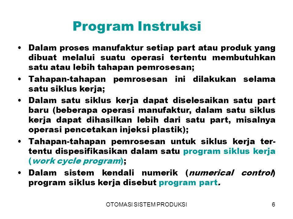OTOMASI SISTEM PRODUKSI6 Program Instruksi Dalam proses manufaktur setiap part atau produk yang dibuat melalui suatu operasi tertentu membutuhkan satu