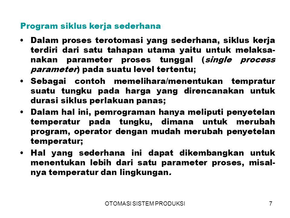 OTOMASI SISTEM PRODUKSI7 Program siklus kerja sederhana Dalam proses terotomasi yang sederhana, siklus kerja terdiri dari satu tahapan utama yaitu unt