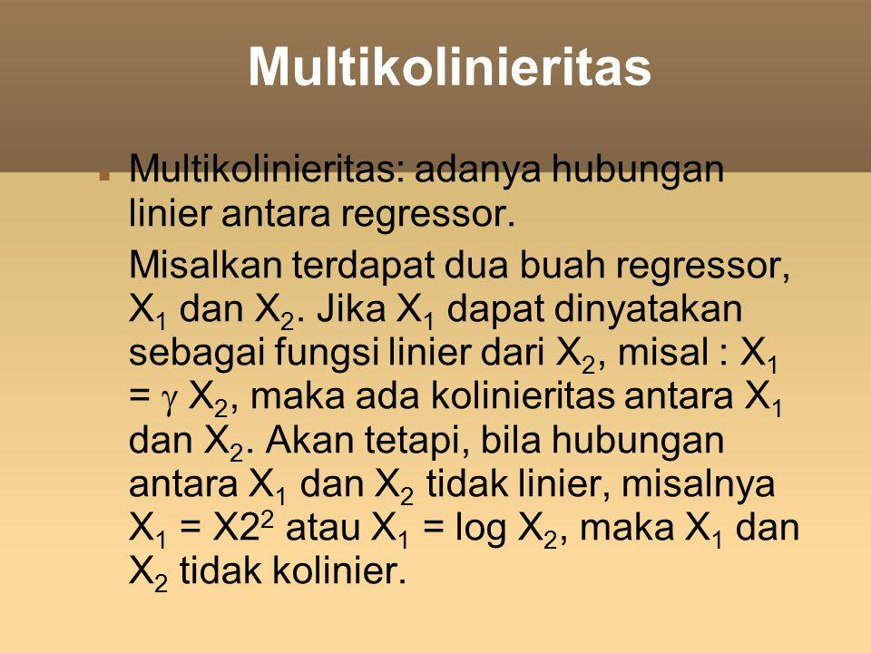 Multikolinieritas Multikolinieritas: adanya hubungan linier antara regressor. Misalkan terdapat dua buah regressor, X 1 dan X 2. Jika X 1 dapat dinyat