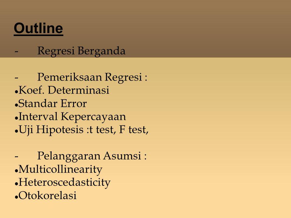 Uji Hipotesis Uji-F Diperuntukkan guna melakukan uji hipotesis koefisien (slop) regresi secara bersamaan.