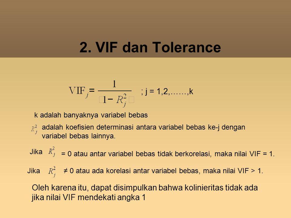 2. VIF dan Tolerance ; j = 1,2,……,k k adalah banyaknya variabel bebas adalah koefisien determinasi antara variabel bebas ke-j dengan variabel bebas la