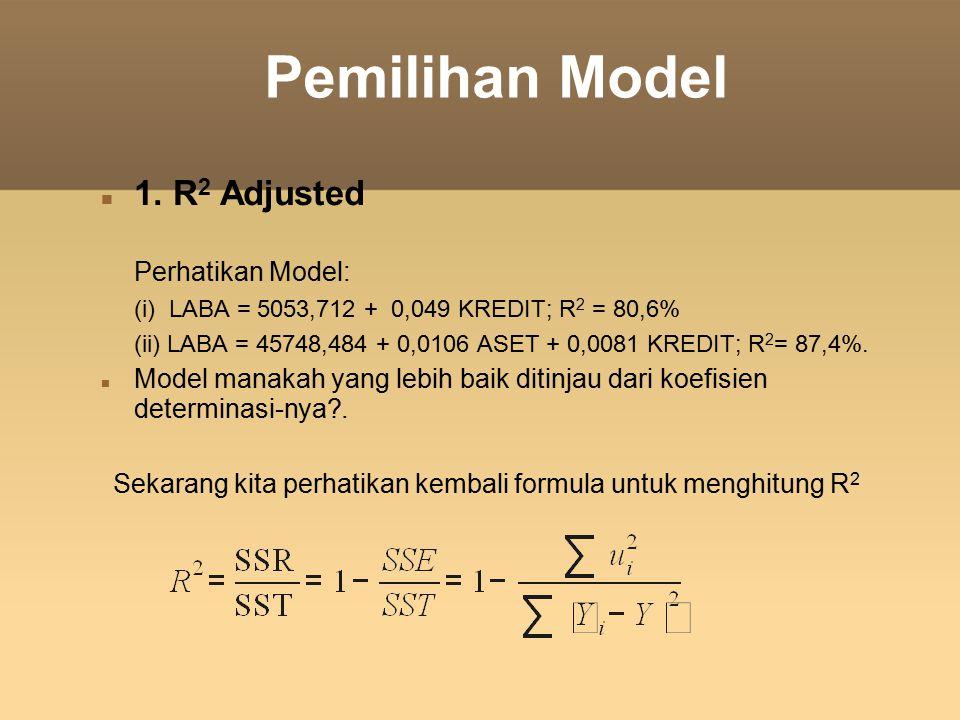 Pemilihan Model 1. R 2 Adjusted Perhatikan Model: (i) LABA = 5053,712 + 0,049 KREDIT; R 2 = 80,6% (ii) LABA = 45748,484 + 0,0106 ASET + 0,0081 KREDIT;