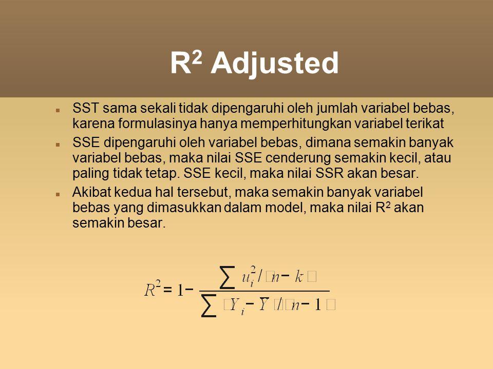 R 2 Adjusted SST sama sekali tidak dipengaruhi oleh jumlah variabel bebas, karena formulasinya hanya memperhitungkan variabel terikat SSE dipengaruhi