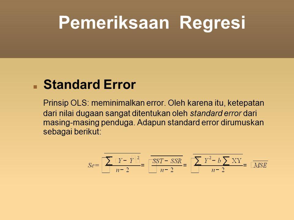 Pemeriksaan Regresi Standard Error Prinsip OLS: meminimalkan error. Oleh karena itu, ketepatan dari nilai dugaan sangat ditentukan oleh standard error