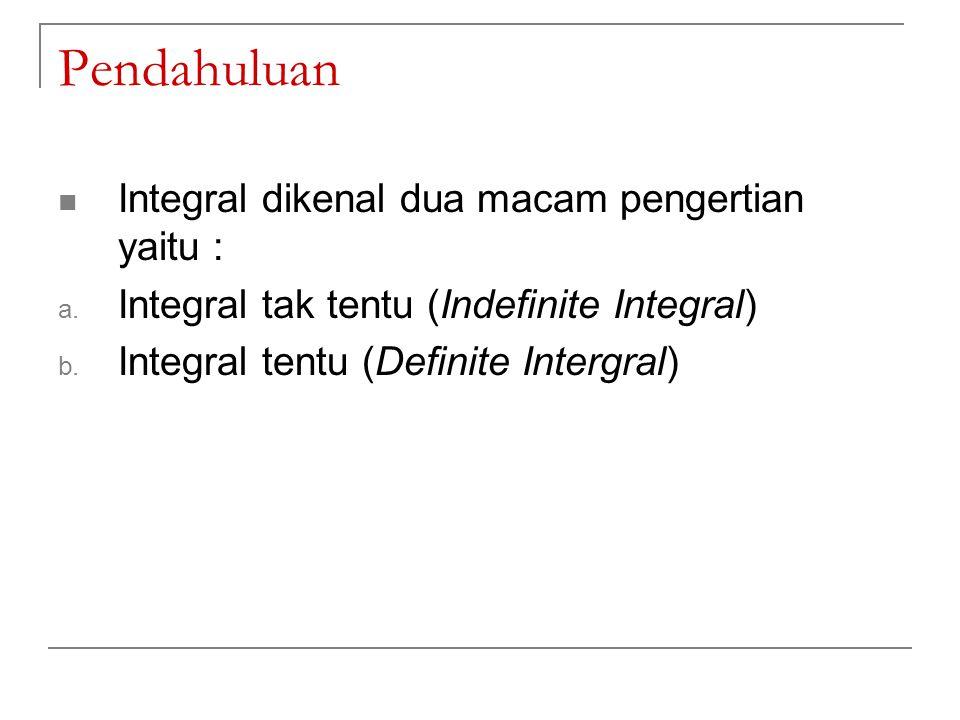 Integral Tak Tentu (Indefinite Integral) Suatu konsep yang berhubungan dengan proses penemuan suatu fungsi asal, apabila turunan atau derivatif dari fungsinya diketahui Bentuk umum integral tak tentu: