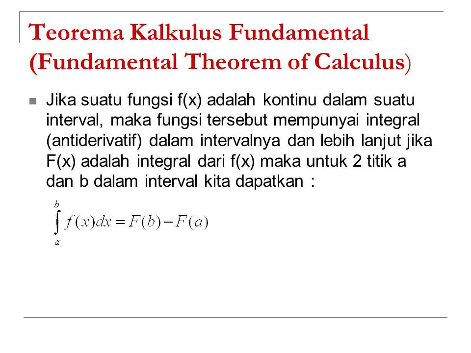 Teorema Kalkulus Fundamental (Fundamental Theorem of Calculus) Jika suatu fungsi f(x) adalah kontinu dalam suatu interval, maka fungsi tersebut mempun