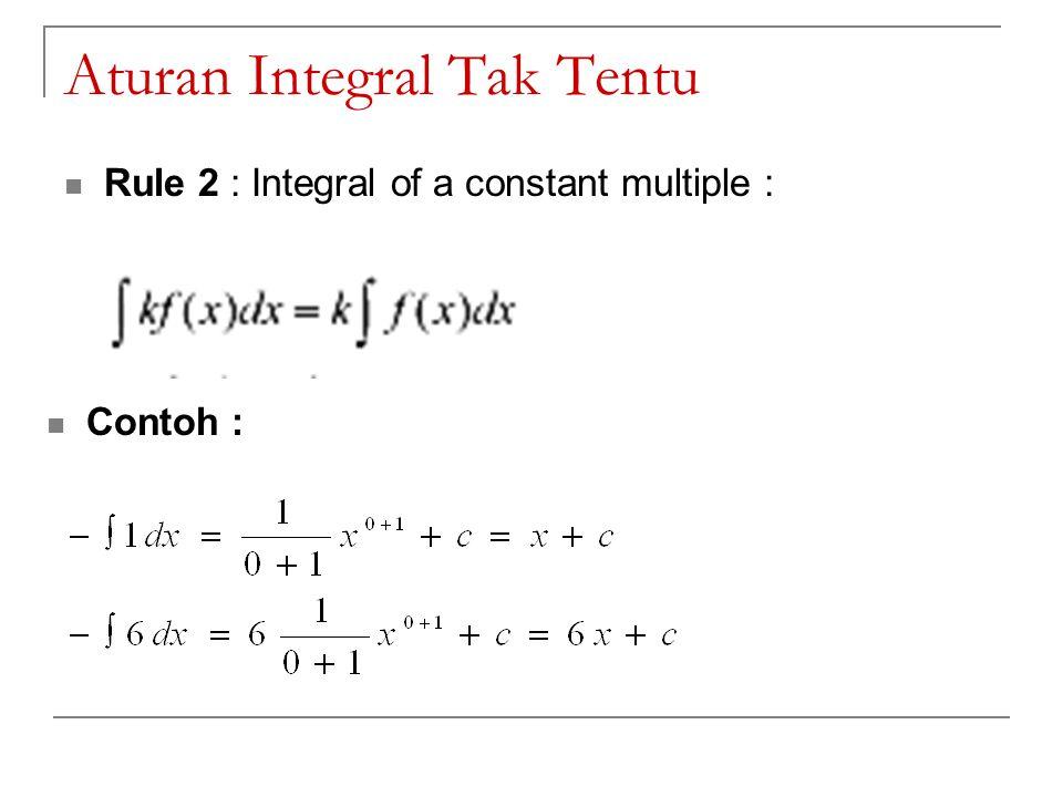 Aturan Integral Tak Tentu Rule 2 : Integral of a constant multiple : Contoh :