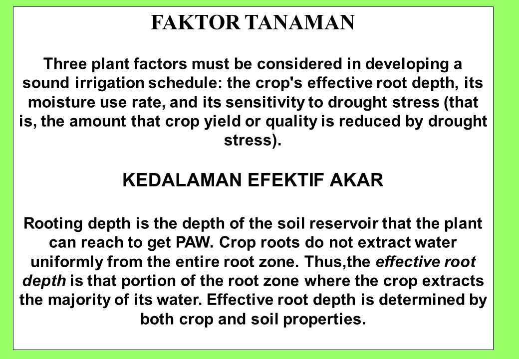 100 FAKTOR TANAMAN Three plant factors must be considered in developing a sound irrigation schedule: the crop s effective root depth, its moisture use rate, and its sensitivity to drought stress (that is, the amount that crop yield or quality is reduced by drought stress).