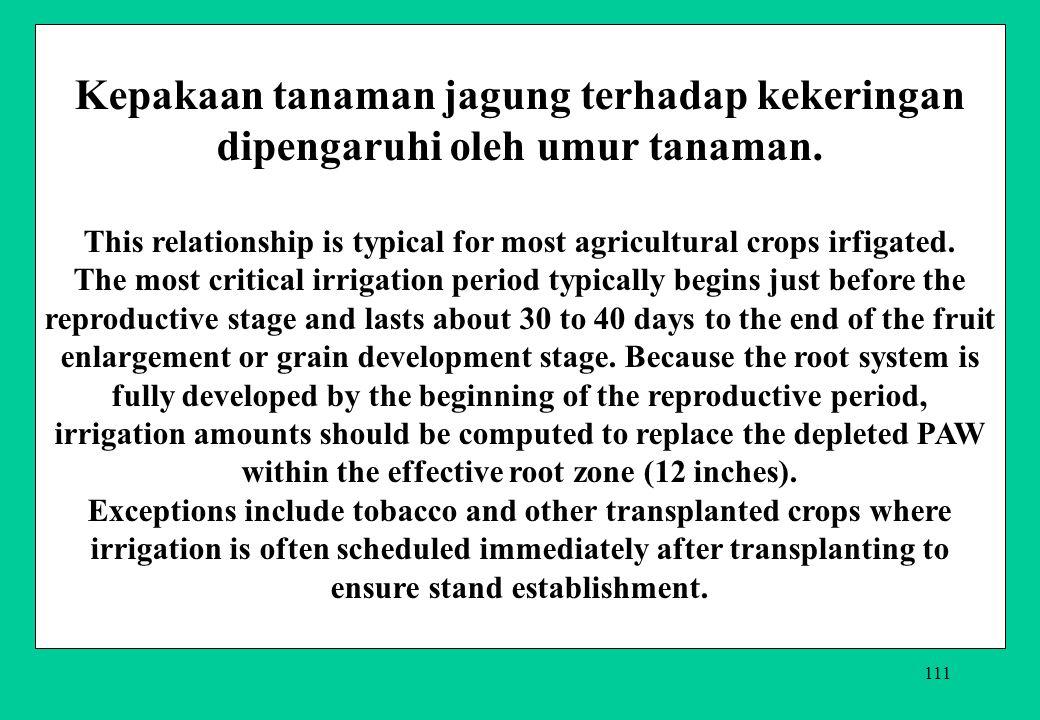 111 Kepakaan tanaman jagung terhadap kekeringan dipengaruhi oleh umur tanaman. This relationship is typical for most agricultural crops irfigated. The