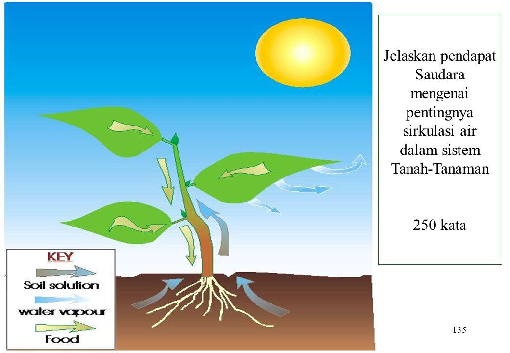 135 Jelaskan pendapat Saudara mengenai pentingnya sirkulasi air dalam sistem Tanah-Tanaman 250 kata