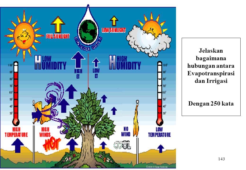 143 Jelaskan bagaimana hubungan antara Evapotranspirasi dan Irrigasi Dengan 250 kata