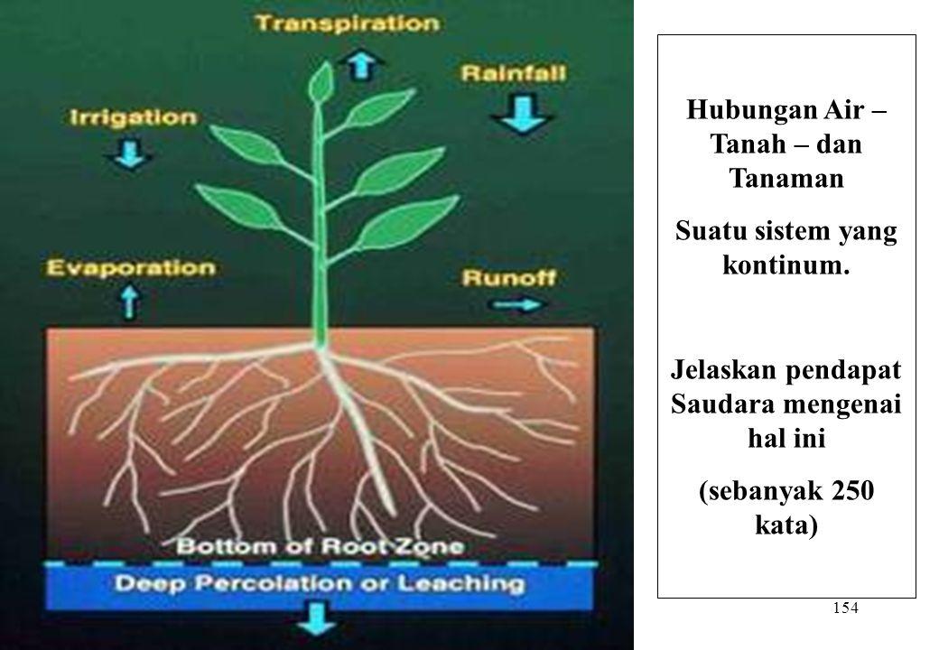 154 Hubungan Air – Tanah – dan Tanaman Suatu sistem yang kontinum. Jelaskan pendapat Saudara mengenai hal ini (sebanyak 250 kata)