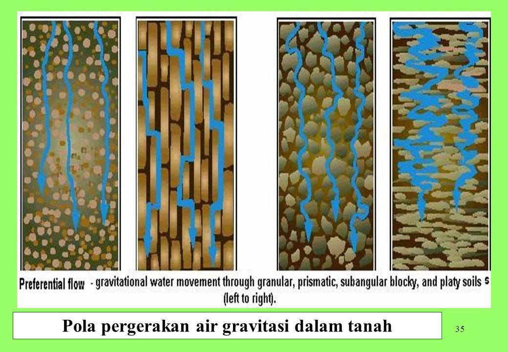 35 Pola pergerakan air gravitasi dalam tanah