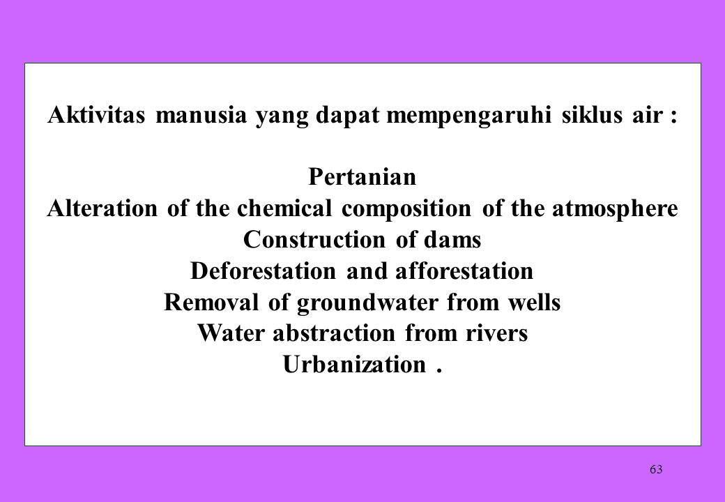 63 Aktivitas manusia yang dapat mempengaruhi siklus air : Pertanian Alteration of the chemical composition of the atmosphere Construction of dams Defo