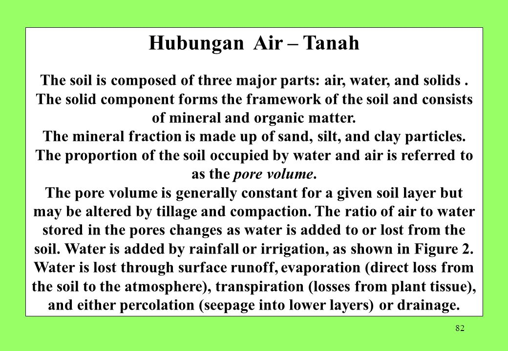 82 Hubungan Air – Tanah The soil is composed of three major parts: air, water, and solids.