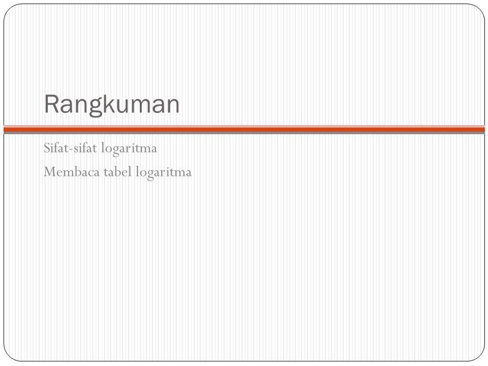 Rangkuman Sifat-sifat logaritma Membaca tabel logaritma