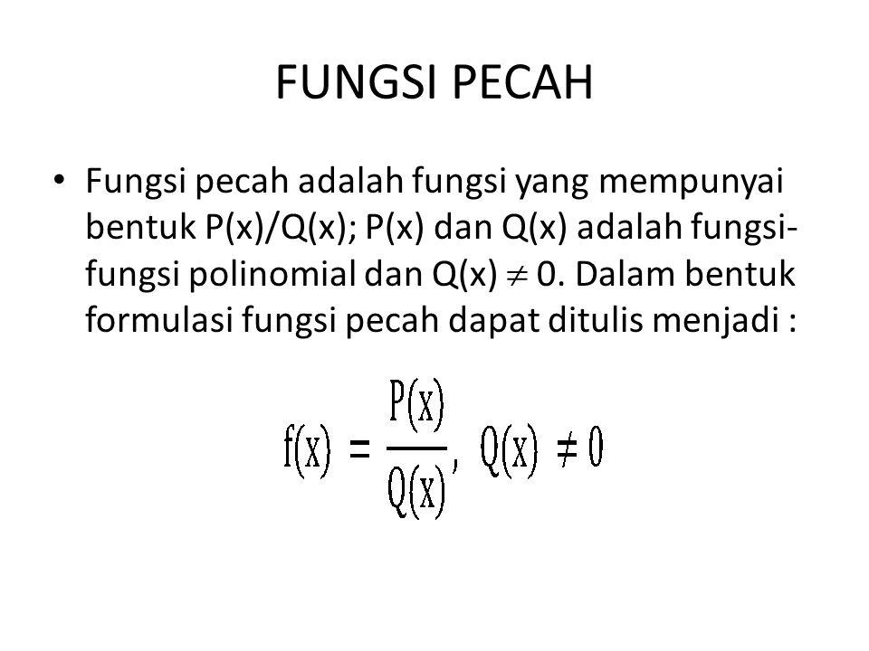 FUNGSI PECAH Fungsi pecah adalah fungsi yang mempunyai bentuk P(x)/Q(x); P(x) dan Q(x) adalah fungsi- fungsi polinomial dan Q(x)  0. Dalam bentuk for