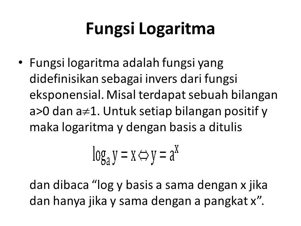 Fungsi Logaritma Fungsi logaritma adalah fungsi yang didefinisikan sebagai invers dari fungsi eksponensial. Misal terdapat sebuah bilangan a>0 dan a 
