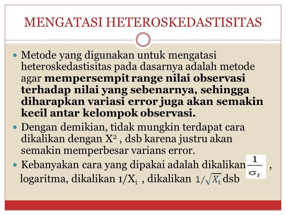 PENDETEKSIAN HETEROSKEDASTISITAS 13 Tingkat signifikansi : 0,05 Daerah kritis : H 0 ditolak apabila |t hitung | > | t tabel |. Statistik Uji : uji –t