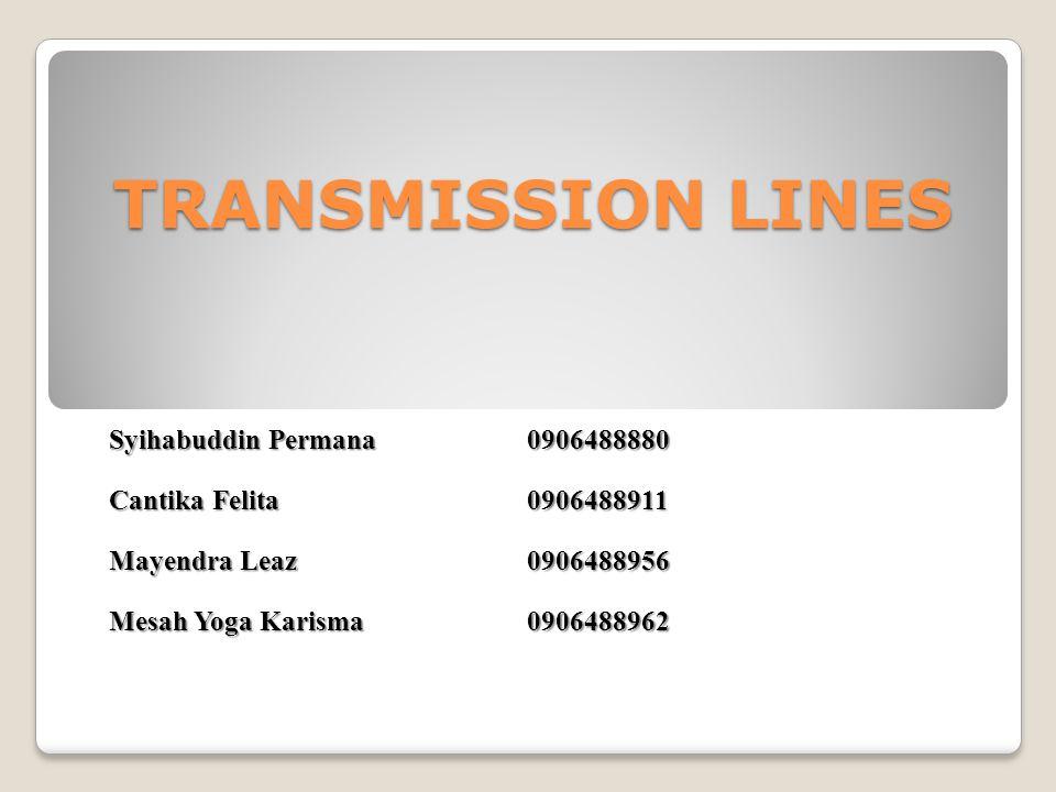 TRANSMISSION LINES Syihabuddin Permana 0906488880 Cantika Felita 0906488911 Mayendra Leaz 0906488956 Mesah Yoga Karisma0906488962