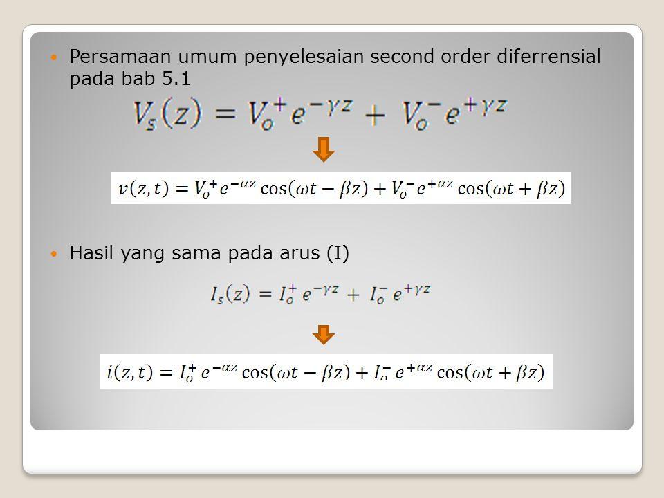 Persamaan umum penyelesaian second order diferrensial pada bab 5.1 Hasil yang sama pada arus (I)