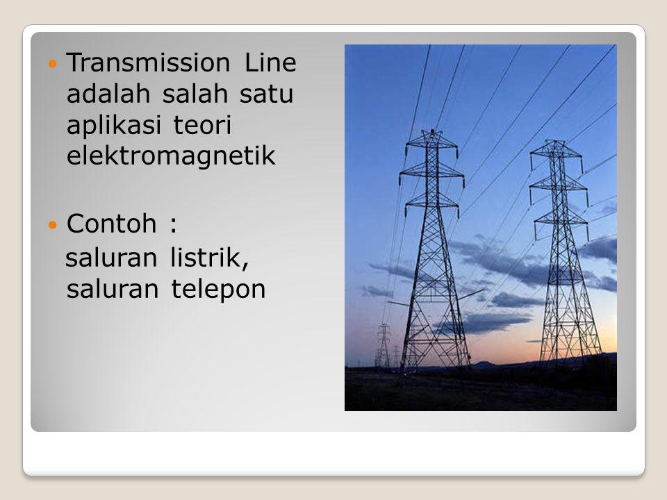Transmission Line adalah salah satu aplikasi teori elektromagnetik Contoh : saluran listrik, saluran telepon