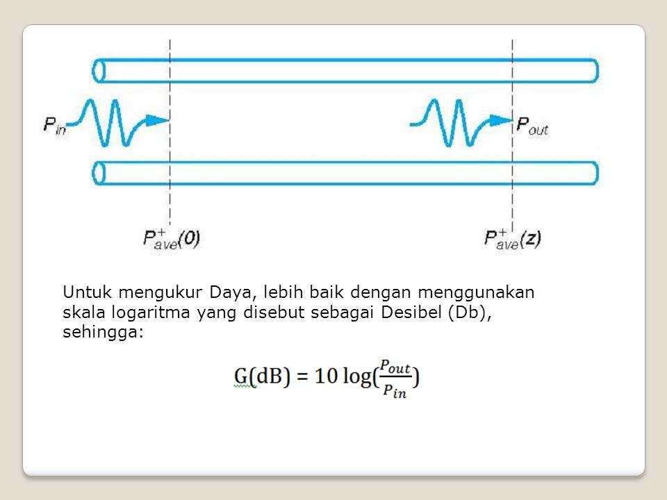 Untuk mengukur Daya, lebih baik dengan menggunakan skala logaritma yang disebut sebagai Desibel (Db), sehingga: