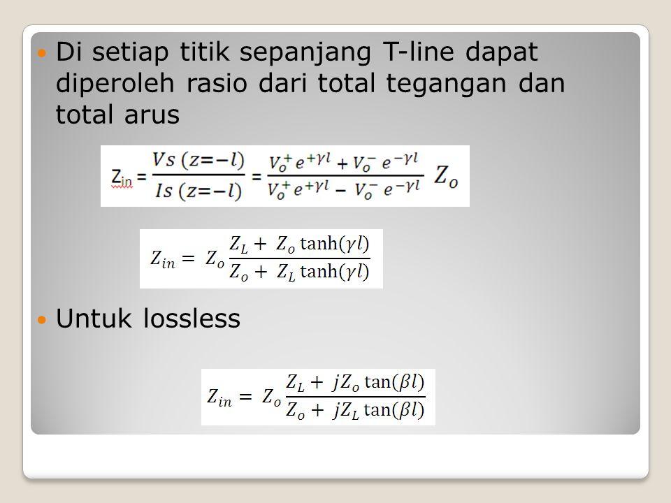 Di setiap titik sepanjang T-line dapat diperoleh rasio dari total tegangan dan total arus Untuk lossless