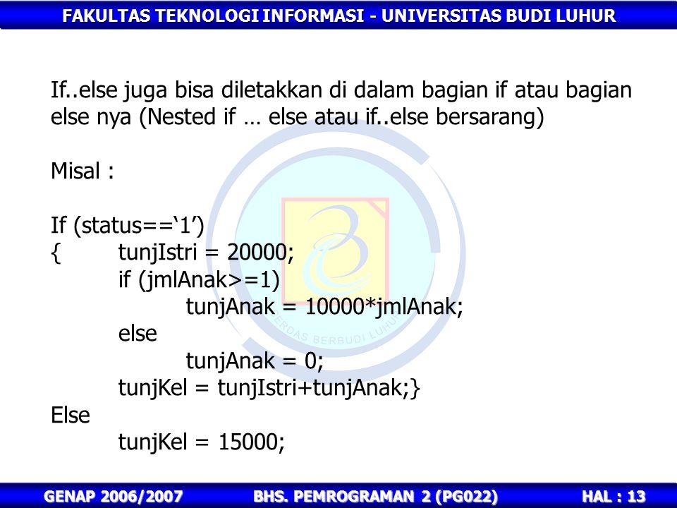 FAKULTAS TEKNOLOGI INFORMASI - UNIVERSITAS BUDI LUHUR HAL : 13 GENAP 2006/2007BHS. PEMROGRAMAN 2 (PG022) If..else juga bisa diletakkan di dalam bagian
