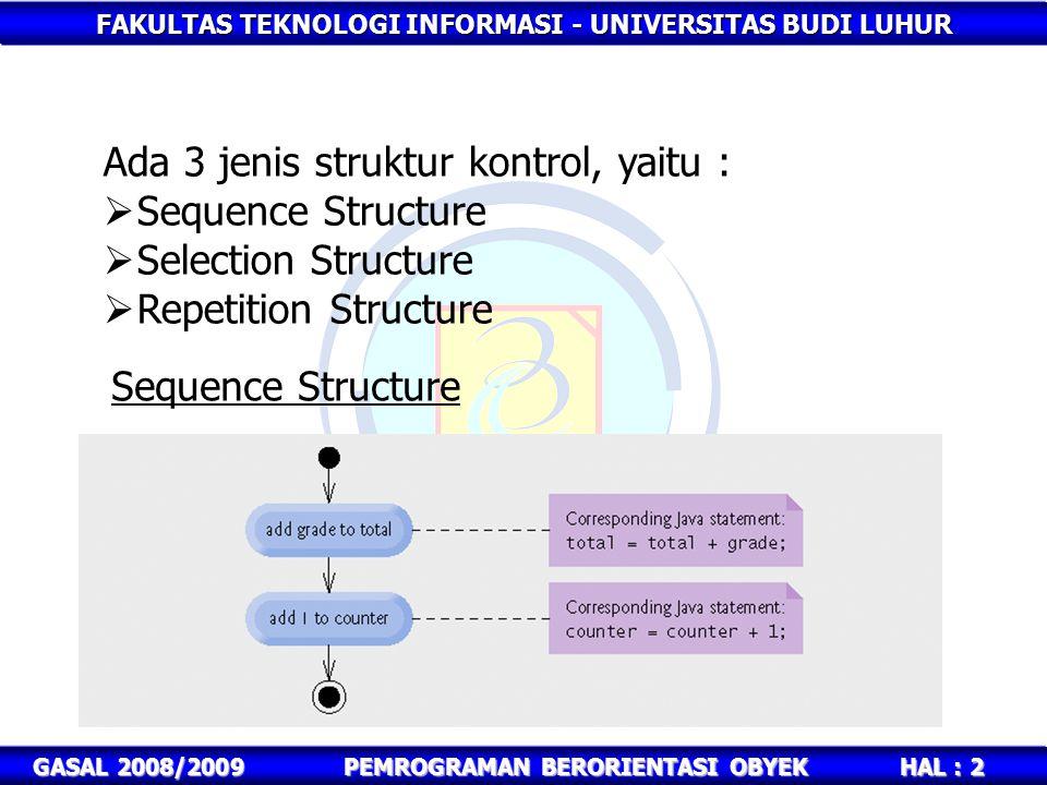 FAKULTAS TEKNOLOGI INFORMASI - UNIVERSITAS BUDI LUHUR HAL : 2 GASAL 2008/2009PEMROGRAMAN BERORIENTASI OBYEK Ada 3 jenis struktur kontrol, yaitu :  Se