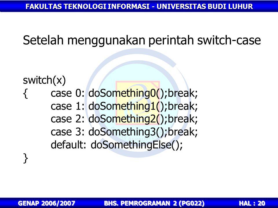 FAKULTAS TEKNOLOGI INFORMASI - UNIVERSITAS BUDI LUHUR HAL : 20 GENAP 2006/2007BHS. PEMROGRAMAN 2 (PG022) Setelah menggunakan perintah switch-case swit