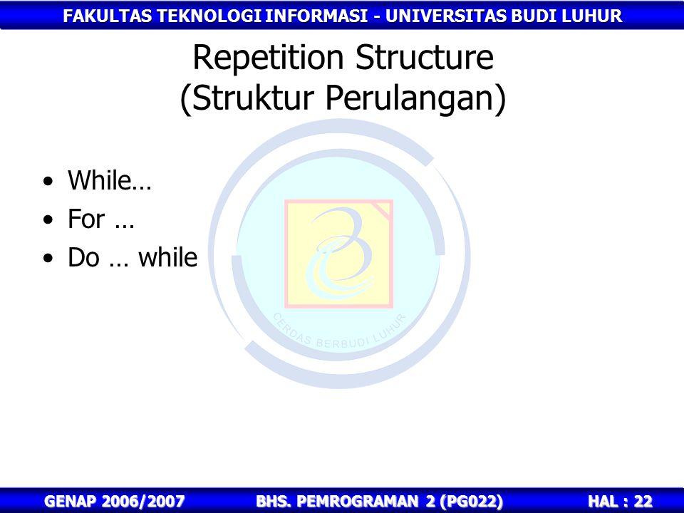FAKULTAS TEKNOLOGI INFORMASI - UNIVERSITAS BUDI LUHUR HAL : 22 GENAP 2006/2007BHS. PEMROGRAMAN 2 (PG022) Repetition Structure (Struktur Perulangan) Wh
