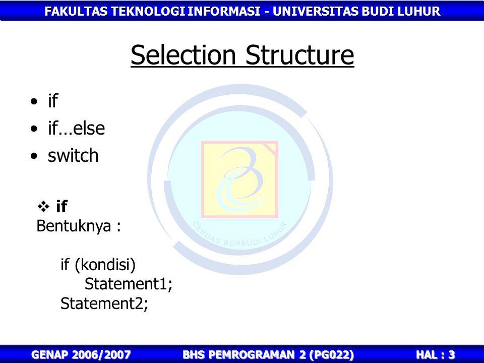 FAKULTAS TEKNOLOGI INFORMASI - UNIVERSITAS BUDI LUHUR HAL : 3 GENAP 2006/2007BHS PEMROGRAMAN 2 (PG022) Selection Structure if if…else switch  if Bent