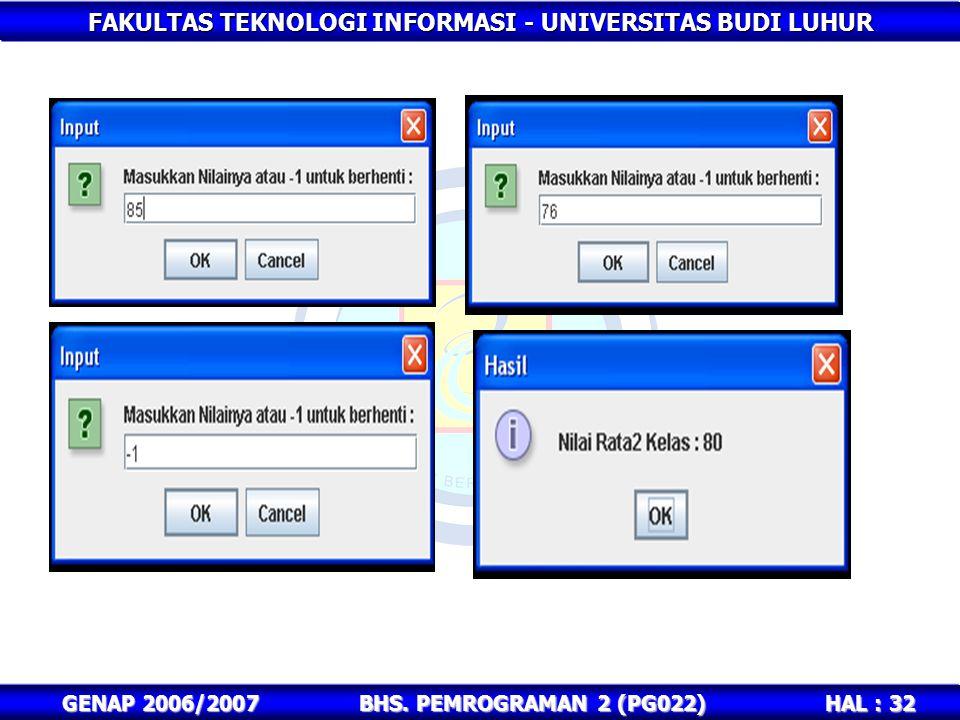 FAKULTAS TEKNOLOGI INFORMASI - UNIVERSITAS BUDI LUHUR HAL : 32 GENAP 2006/2007BHS. PEMROGRAMAN 2 (PG022)