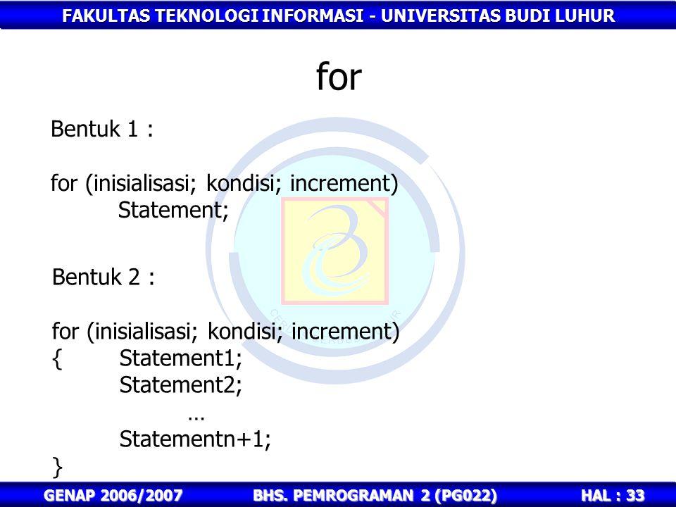 FAKULTAS TEKNOLOGI INFORMASI - UNIVERSITAS BUDI LUHUR HAL : 33 GENAP 2006/2007BHS. PEMROGRAMAN 2 (PG022) for Bentuk 1 : for (inisialisasi; kondisi; in