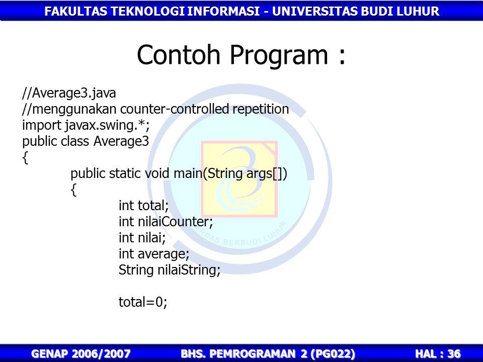 FAKULTAS TEKNOLOGI INFORMASI - UNIVERSITAS BUDI LUHUR HAL : 36 GENAP 2006/2007BHS. PEMROGRAMAN 2 (PG022) Contoh Program : //Average3.java //menggunaka