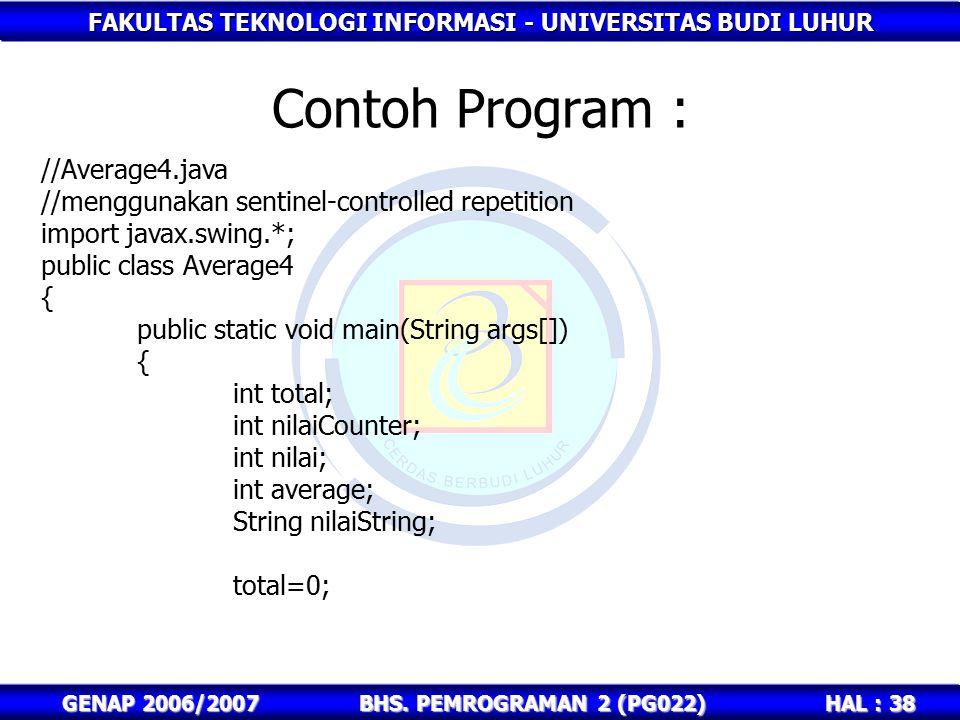 FAKULTAS TEKNOLOGI INFORMASI - UNIVERSITAS BUDI LUHUR HAL : 38 GENAP 2006/2007BHS. PEMROGRAMAN 2 (PG022) Contoh Program : //Average4.java //menggunaka