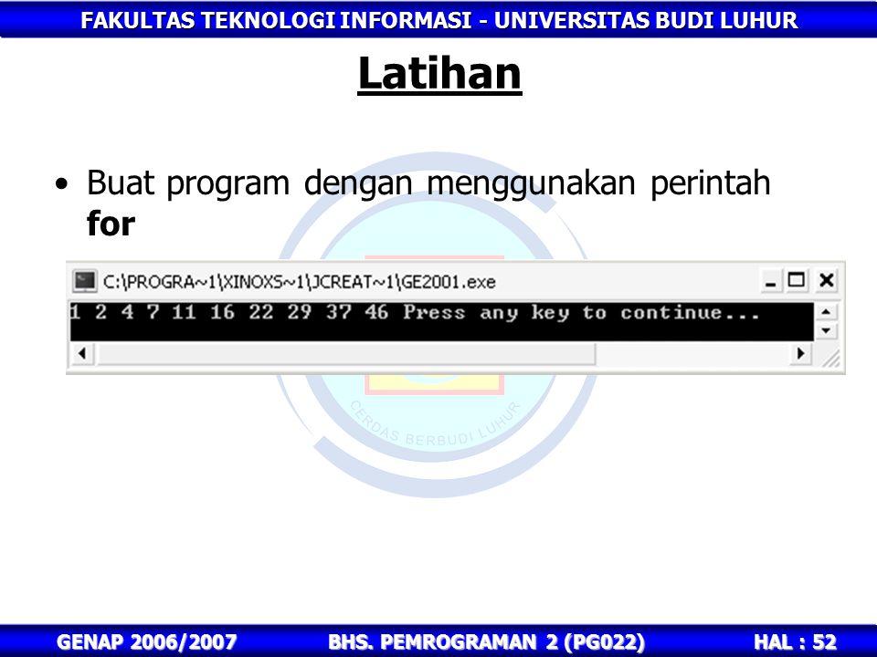 FAKULTAS TEKNOLOGI INFORMASI - UNIVERSITAS BUDI LUHUR HAL : 52 GENAP 2006/2007BHS. PEMROGRAMAN 2 (PG022) Latihan Buat program dengan menggunakan perin