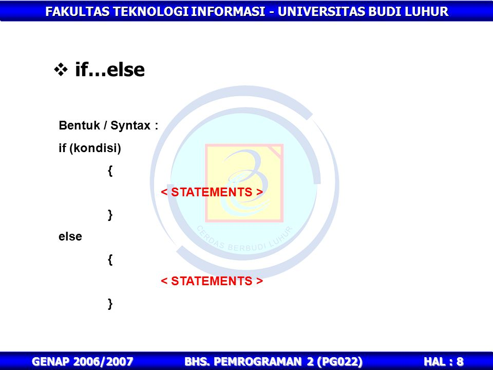 FAKULTAS TEKNOLOGI INFORMASI - UNIVERSITAS BUDI LUHUR HAL : 9 GENAP 2006/2007BHS.