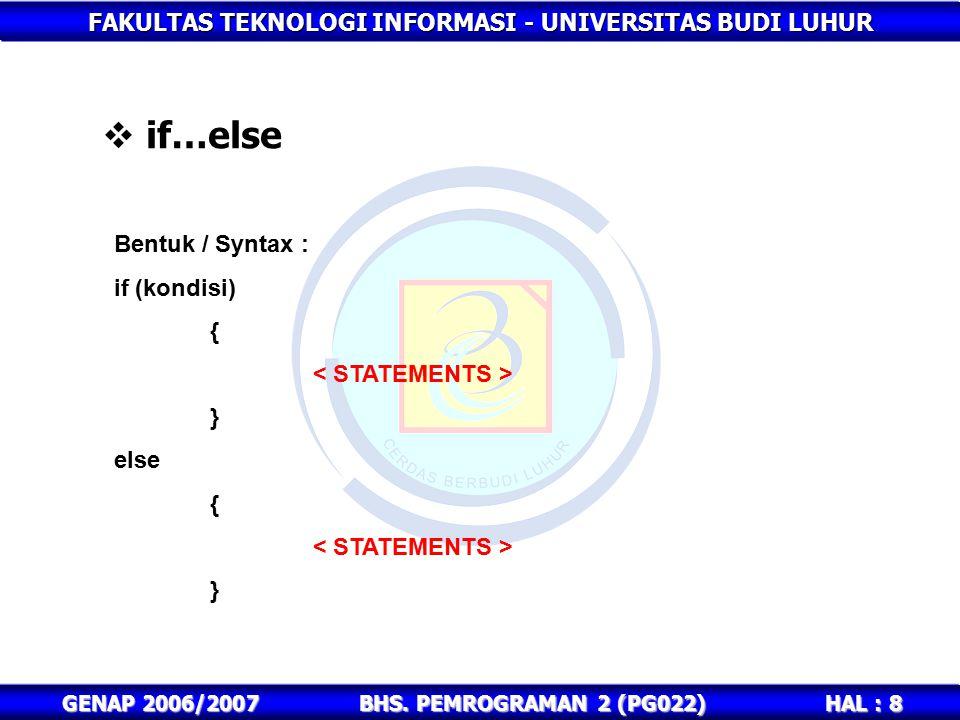 FAKULTAS TEKNOLOGI INFORMASI - UNIVERSITAS BUDI LUHUR HAL : 8 GENAP 2006/2007BHS. PEMROGRAMAN 2 (PG022)  if…else Bentuk / Syntax : if (kondisi) { } e