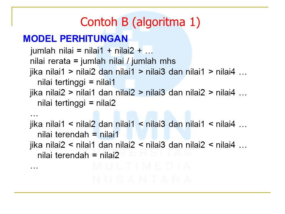 MODEL PERHITUNGAN jumlah nilai = nilai1 + nilai2 + … nilai rerata = jumlah nilai / jumlah mhs jika nilai1 > nilai2 dan nilai1 > nilai3 dan nilai1 > nilai4 … nilai tertinggi = nilai1 jika nilai2 > nilai1 dan nilai2 > nilai3 dan nilai2 > nilai4 … nilai tertinggi = nilai2 … jika nilai1 < nilai2 dan nilai1 < nilai3 dan nilai1 < nilai4 … nilai terendah = nilai1 jika nilai2 < nilai1 dan nilai2 < nilai3 dan nilai2 < nilai4 … nilai terendah = nilai2 … Contoh B (algoritma 1)