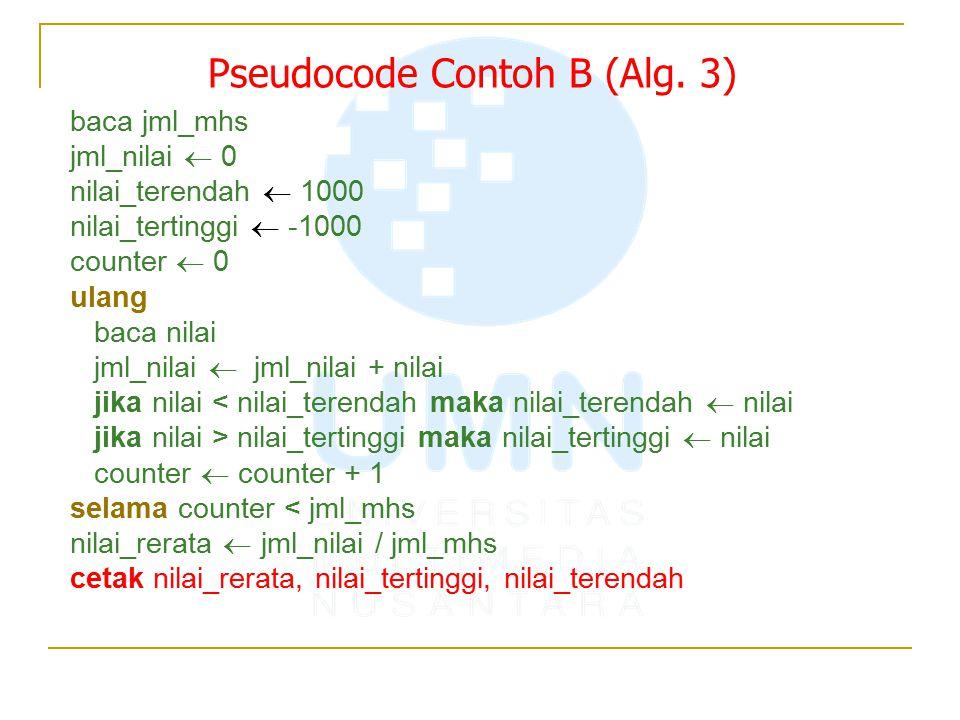 Pseudocode Contoh B (Alg. 3) baca jml_mhs jml_nilai  0 nilai_terendah  1000 nilai_tertinggi  -1000 counter  0 ulang baca nilai jml_nilai  jml_nil