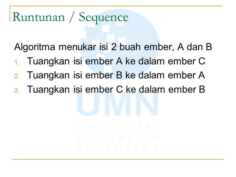 Runtunan / Sequence Algoritma menukar isi 2 buah ember, A dan B 1.