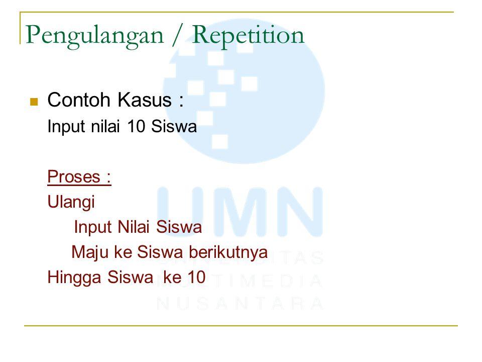 Pengulangan / Repetition Contoh Kasus : Input nilai 10 Siswa Proses : Ulangi Input Nilai Siswa Maju ke Siswa berikutnya Hingga Siswa ke 10